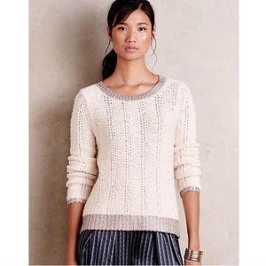 BOGO! Anthropologie Moth Wool Blend Silver Trim Sweater